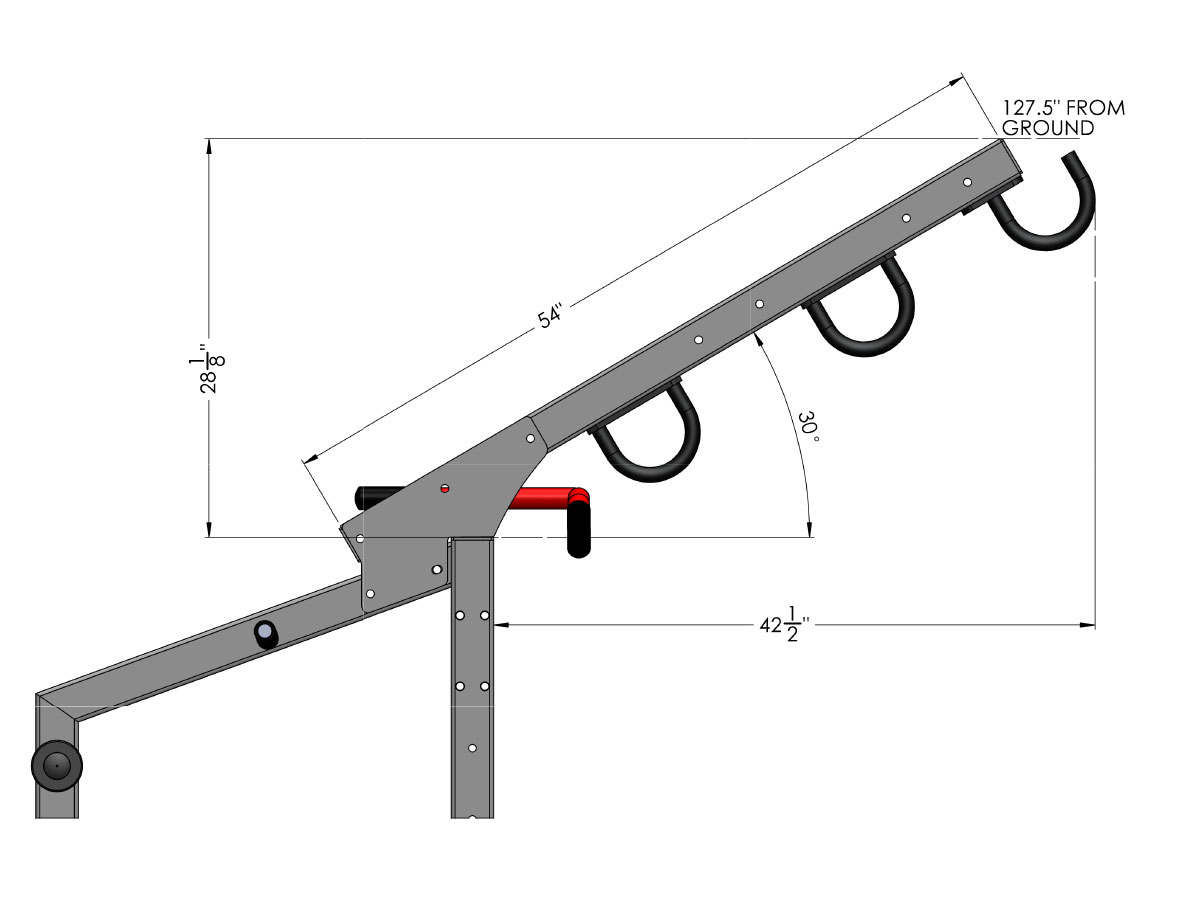Angles and measurements of the Dynamic Ladder Attachment for Pro Series Half Cages.