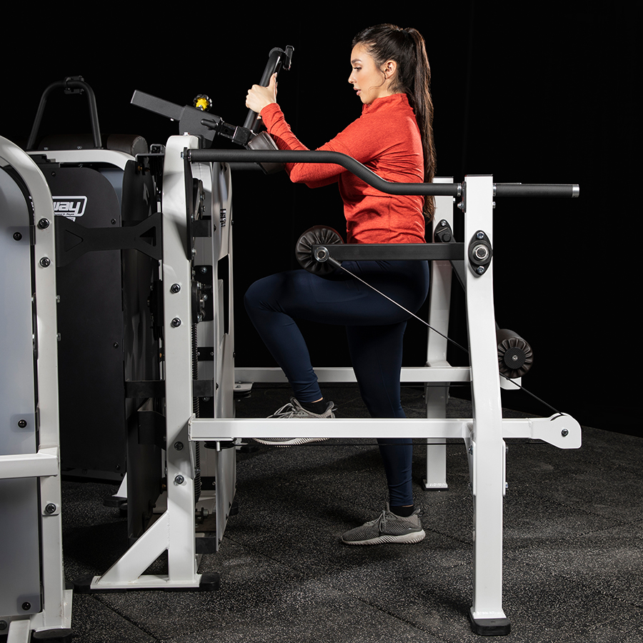 A photo of the Speedway Circuit Super Stride machine being used by a female athlete. It is Legend Fitness item 7050. It was developed by Andre Agassi and Gil Reyes.