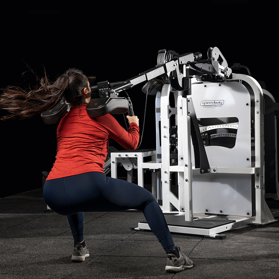 A photo of the Speedway Circuit Change Of Direction (COD) machine being used by a female athlete.