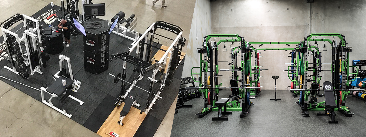 A side-by-side image showing a Legend Fitness booth at a trade show and the Nex Level Dural installation in Australia.