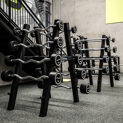 A photo of two Legend Fitness bar storage items in a gym.