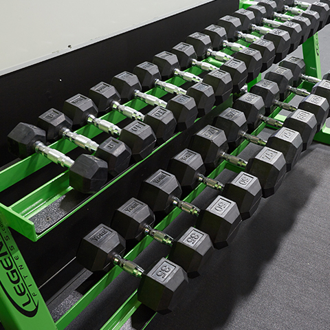 A photo of a Legend Fitness dumbbell rack.