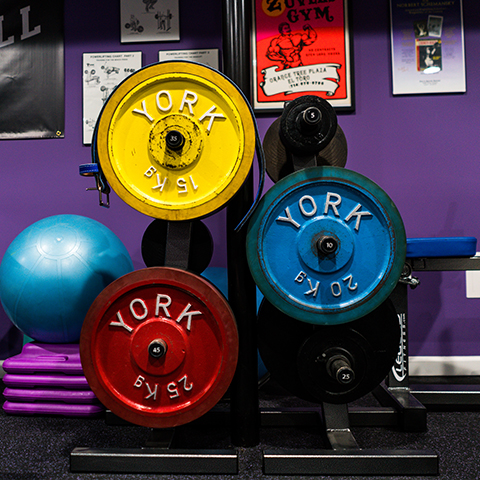 A photo of two Legend Fitness plate storage items.